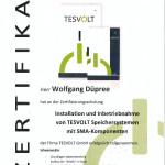 Zertifikat f. Tesvolt Speicher mit SMA-Komponenten